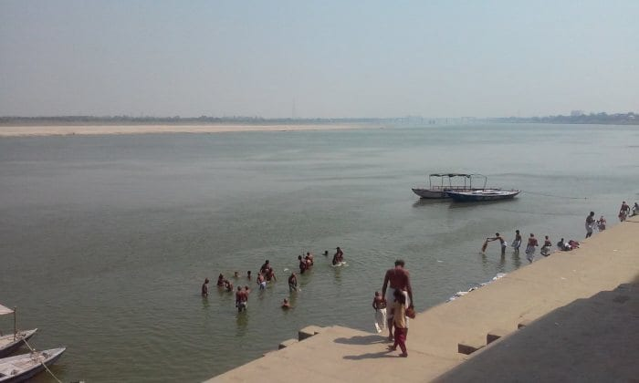 Indians bathing in the Ganges